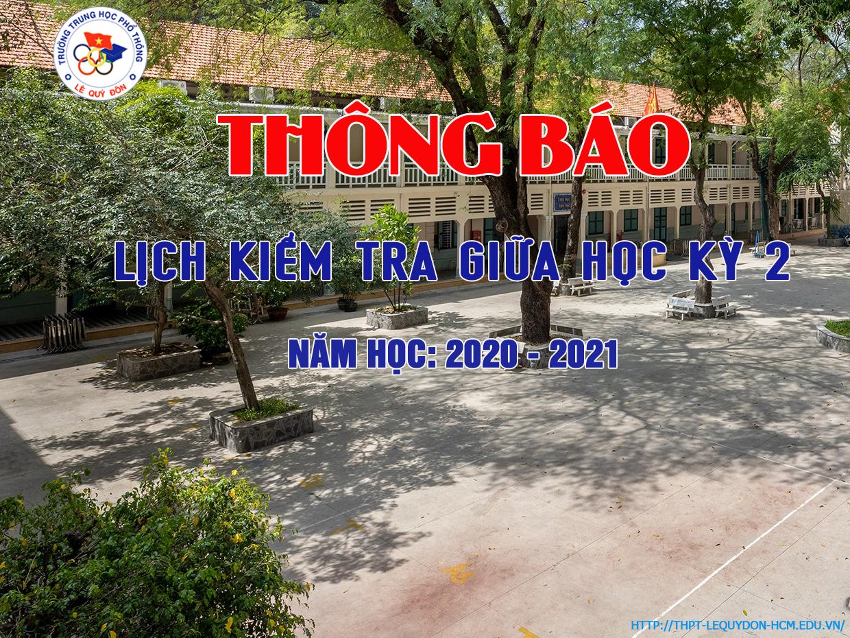 Lịch kiểm tra giữa HKII NH: 2020 - 2021