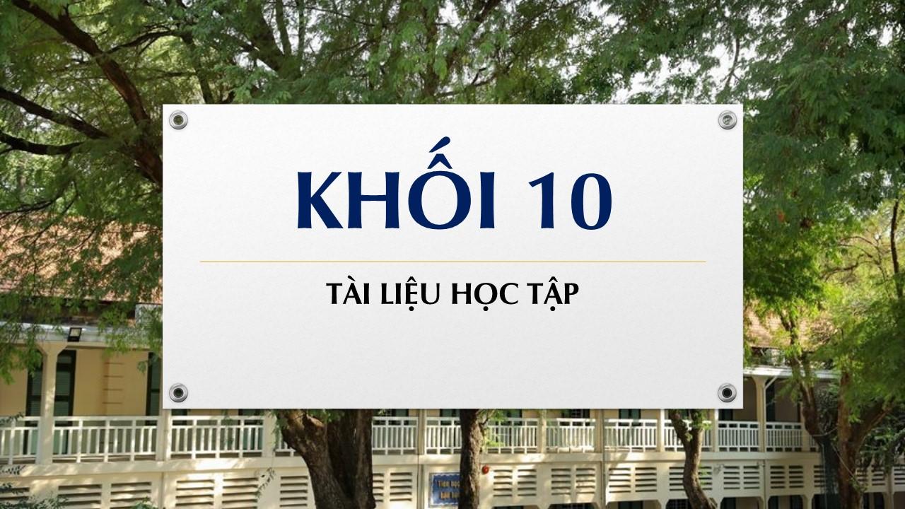 Tài liệu học tập môn Hoá khối 10
