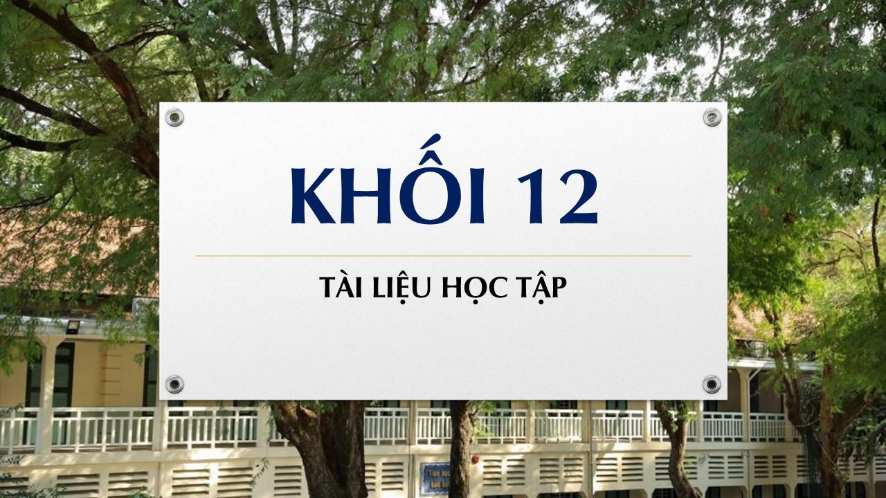 Tài liệu học tập môn Hoá khối 12